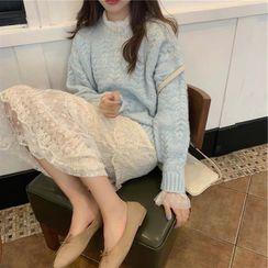 COOLIN - 套裝: 麻花針織寬鬆毛衣 + 蕾絲長袖搭層連衣長裙