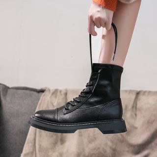 Nikao(ニカオ) - Faux Leather Lace-Up Platform Ankle Boots