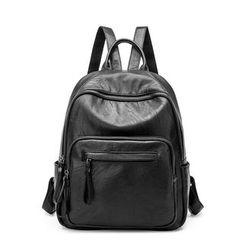 AIDO - Genuine Leather Zip Backpack