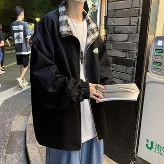 BORGO - Plaid Panel Zip Jacket