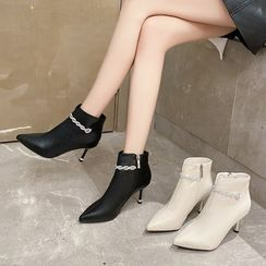 Brightsea - High-Heel Pointy-Toe Faux-Leather Short Boots