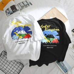 OSIGRANDI - Cartoon Dinosaur Print Short-Sleeve T-Shirt