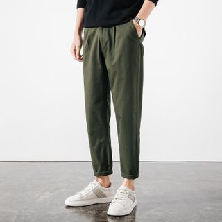FORSETI - Plain Tapered Cropped Pants