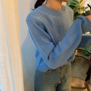 Ashlee - Long-Sleeve Plain Knit Cropped Sweater