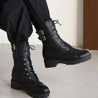 佳美 - 粗跟系带短靴