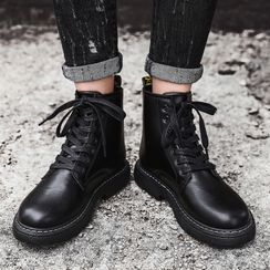 HANO - Faux Leather Lace-Up Short Boots