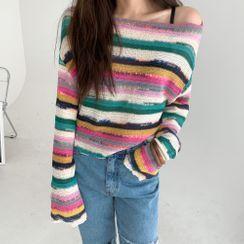 PPGIRL - Boat-Neck Multicolor-Stripe Knit Top