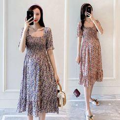 NOA - Maternity Short-Sleeve Floral Print A-Line Dress / Undershorts / Set