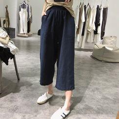 Grami - Cropped Elastic Waist Wide-Leg Pants
