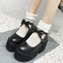 KICKOFF - Block-Heel Platform Mary Jane Shoes