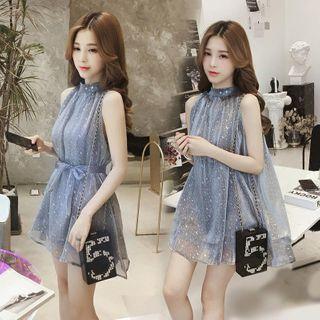 Minimince - Halter-Neck Star Print Mini Chiffon Dress