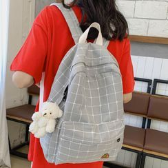 CHIN CHIN - Embroidered Plaid Backpack