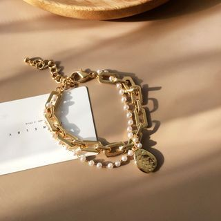 Yambo - Faux Pearl Layered Chain Bracelet