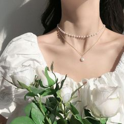 Gold Beam - Faux Pearl Pendant Layered Choker Necklace