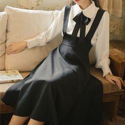 Glaypio - Set: Long-Sleeve Tie-Neck Shirt + Midi A-Line Suspender Skirt