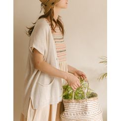 GOROKE - Cap-Sleeve Summer Knit Cardigan