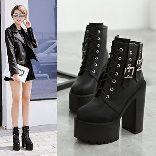 安若 - 厚底系带短靴