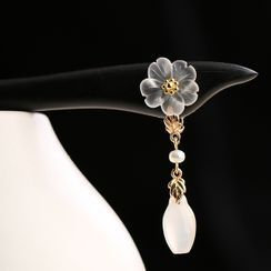 Kanzashi - Retro Crystal Flower Hair Stick