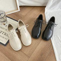 HOGG(ホッグ) - Plain Faux Leather Lace-Up Shoes
