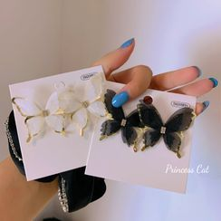 Princess Cat - Rhinestone Chiffon Butterfly Earring