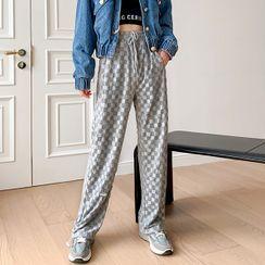 Makatar - Drawstring Check Wide Leg Pants