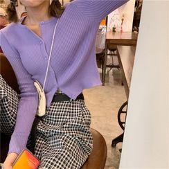 Alfie - Plain Long-Sleeve Slim-Fit Knit Top