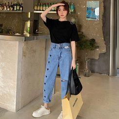 Frigga - 心心刺绣做旧九分直筒牛仔裤
