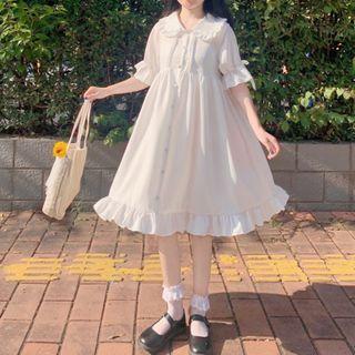 Yoshimi - 饰领荷叶中袖A字连衣裙