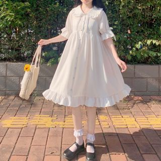 Yoshimi - Collared Ruffled Elbow-Sleeve A-Line Dress