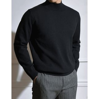 STYLEMAN - Mock-Neck Wool Blend Knit Top