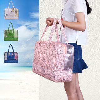 Lezi Bags - Floral Print Panel Wet-dry Beach Bag