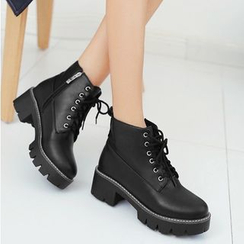 Freesia - Lace-Up Platform Short Boots