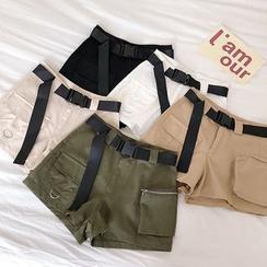 DIYI - Plain Shorts With Belt