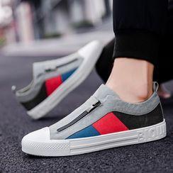 BELLOCK - Color Block Zip Canvas Sneakers