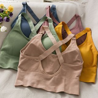 Lemongrass - Strappy Push-Up Sports Bra Top in 6 Colors