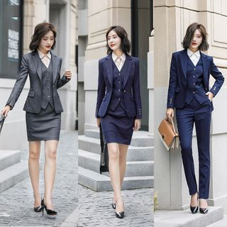 Ice Cloud(アイスクラウド) - Single-Breasted Blazer / Vest / Mini Fitted Skirt / Dress Pants / Long-Sleeve Shirt / Set