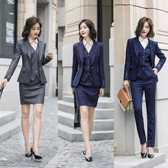 Ice Cloud - Single-Breasted Blazer / Vest / Mini Fitted Skirt / Dress Pants / Long-Sleeve Shirt / Set