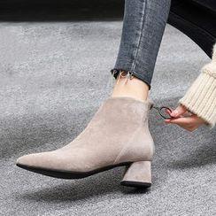 ONESTEP - 仿麂皮粗跟短靴