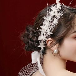 First Impression - Wedding Tulle Bow Headband / Faux Pearl Earring / Set