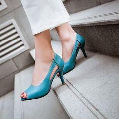 Kireina - Faux-Leather Cutout Stilettos