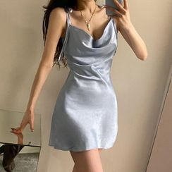Sosana - Tie-Shoulder Cowl-Neck Satin Mini Dress