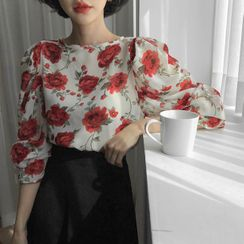MERONGSHOP - Tie-Back Puff-Sleeve Rosette Blouse