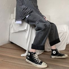 JUN.LEE - Side Pocket Distressed Wide-Leg Jeans