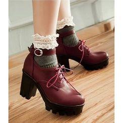 Freesia - 厚底粗跟飾扣繫帶鞋