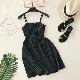 Lucuna - Spaghetti Strap Lace-Up Pinstriped A-Line Dress