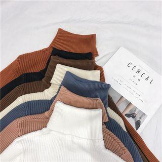 Tiny Times - Einfarbiges, langärmliges, geripptes Shirt mit Rollkragen