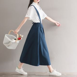 Sulis - Plain Elbow-Sleeve Blouse / Midi Suspender Skirt