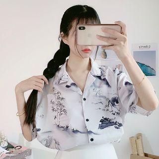 Honey Diary - Printed Elbow-Sleeve Blouse