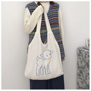 TangTangBags - Embroidered Lamb Fleece Shopper Bag