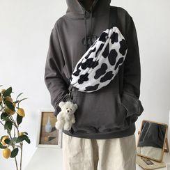 TangTangBags - Milk Cow Print Faux Fur Sling Bag